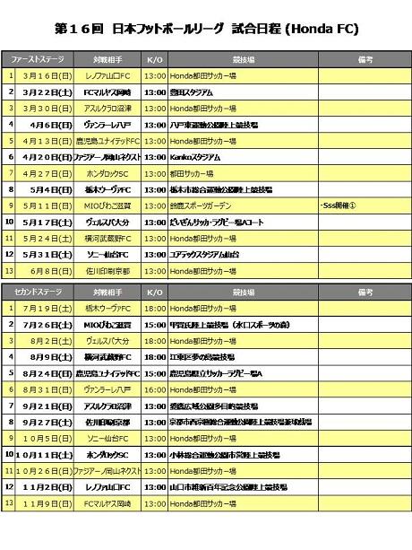 Honda FC試合日程